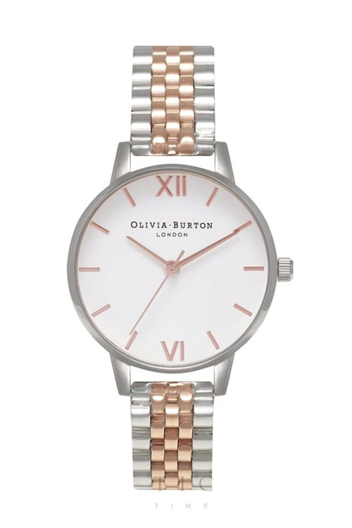 Olivia Burton Midi White Rose Gold and Silver Bracelet Watch