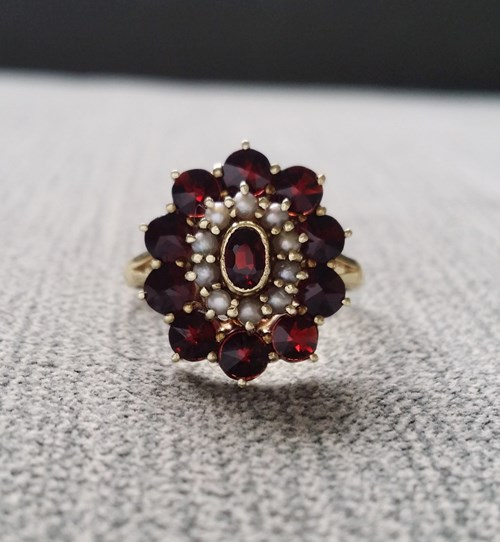 Antique Garnet and Seed Pearl Ring