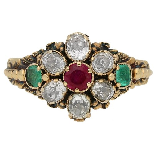 Georgian Ruby Emerald and Diamond Ring