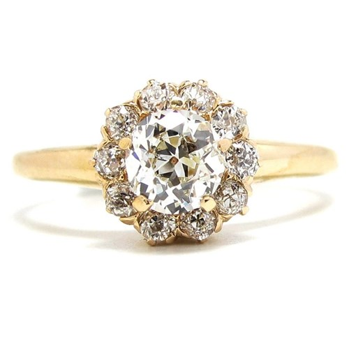 Floral-Inspired 1890s Gold and Diamond Ring