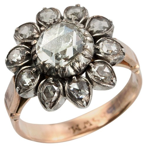 Victorian Rose Cut Diamond Gold Cluster Ring