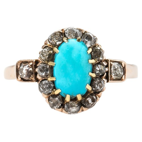 Victorian Turquoise and Old Mine Cut Ring