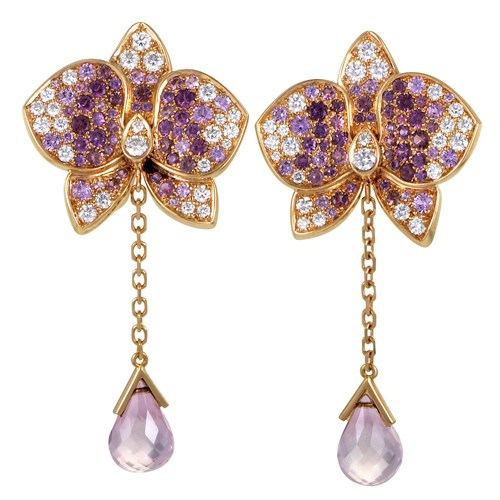 Cartier Caresse d'Orchidées Par Cartier Diamond Gemstone Gold Earring