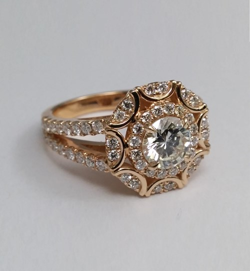 Victorian Halo Double Band Diamond Ring