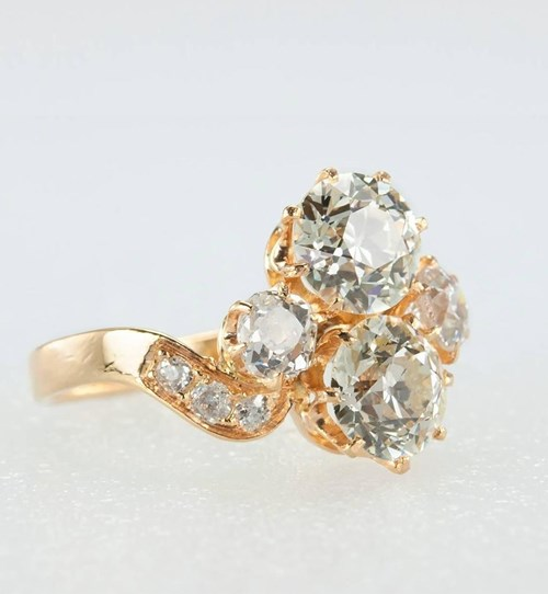 Victorian Diamond and Gold Toi Et Moi Ring