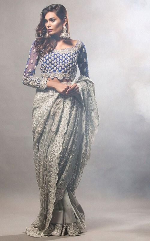 Grey Sari with Cobalt Blue Blouse -Zainab Chottani