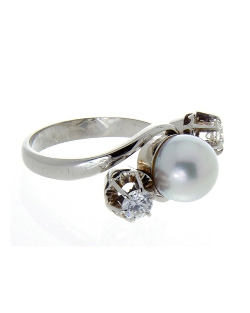 Yellow Gold Cultured Pearl And Diamond Dress Ring