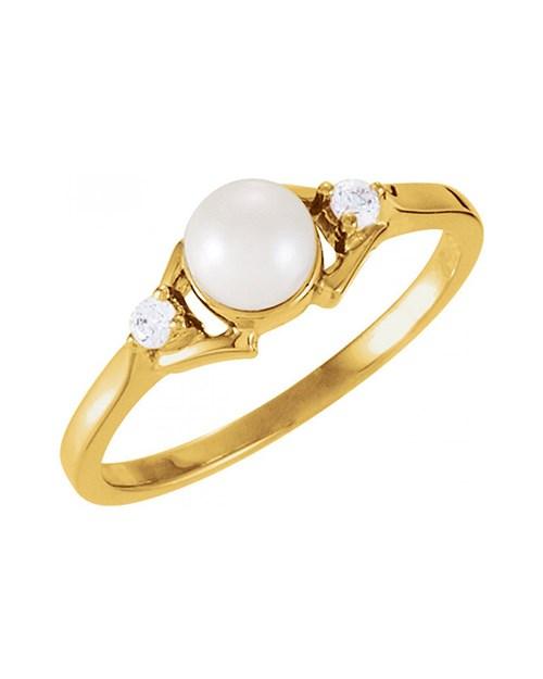 Yellow Akoya Cultured Pearl and Diamond Ring