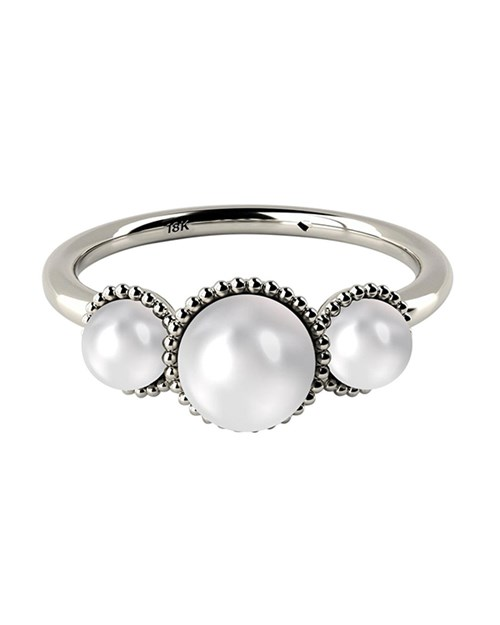White Gold Three Stone AAA Cultured Freshwater Pearl