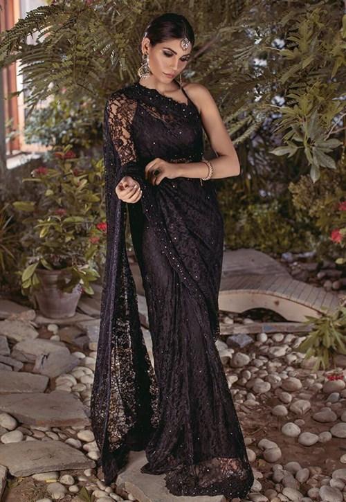 Black Chantilly Lace Saree – Asim Jofa