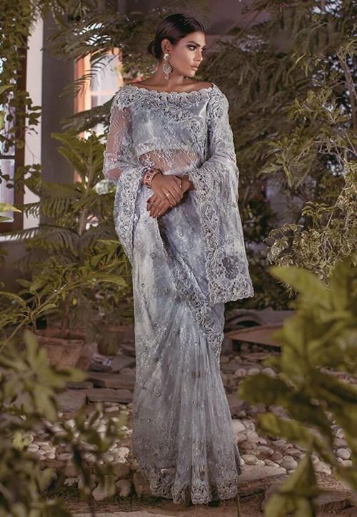 Silver Grey Chantilly Lace Sari – Asim Jofa