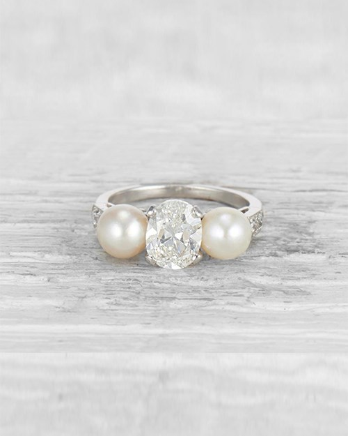 Diamond and Cultured Pearl 3-Stone Ring