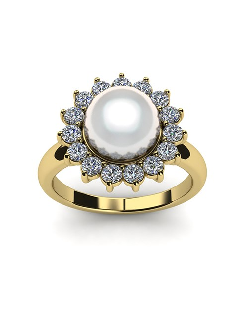 Flower Japanese Akoya Cultured Pearl and Diamond Ring
