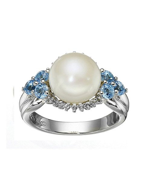Sterling Silver Freshwater Cultured Pearl and Diamond Accent Ring