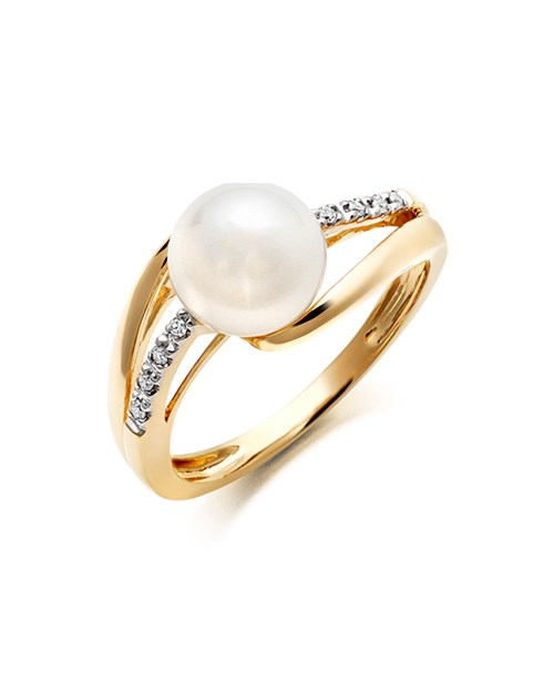Gold Diamond and Cultured Pearl Ring