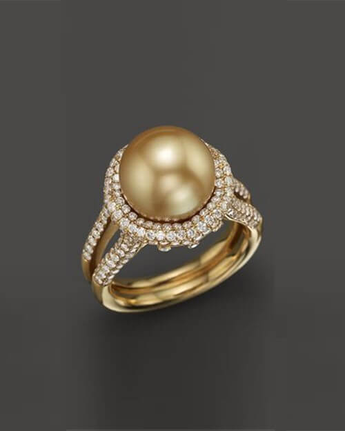 Yellow Gold Cultured Pearl and Diamond Ring