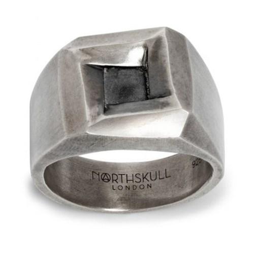 Quadrum Ring in Oxidised Silver