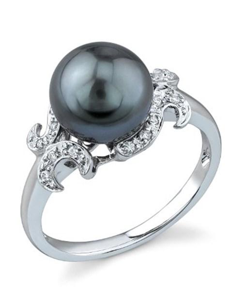 Tahitian South Sea Pearl & Diamond Crown Ring