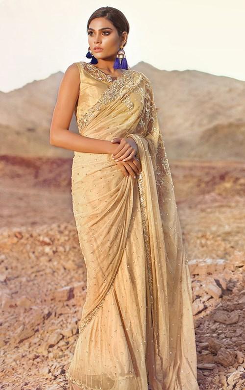 Omrose Gold Sari – Tena Durrani