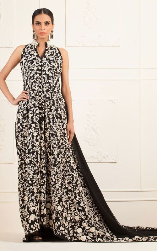 Front Open Black Net Dress by Zainab Chottani