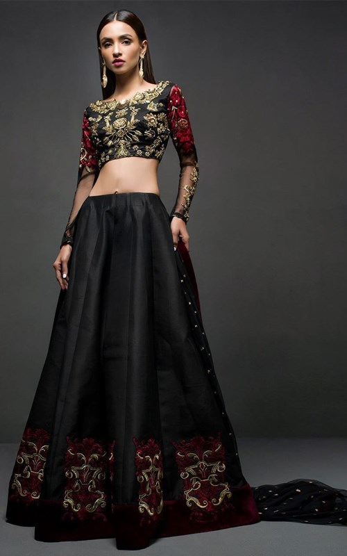 Black Choli Sharara by Zainab Chottani