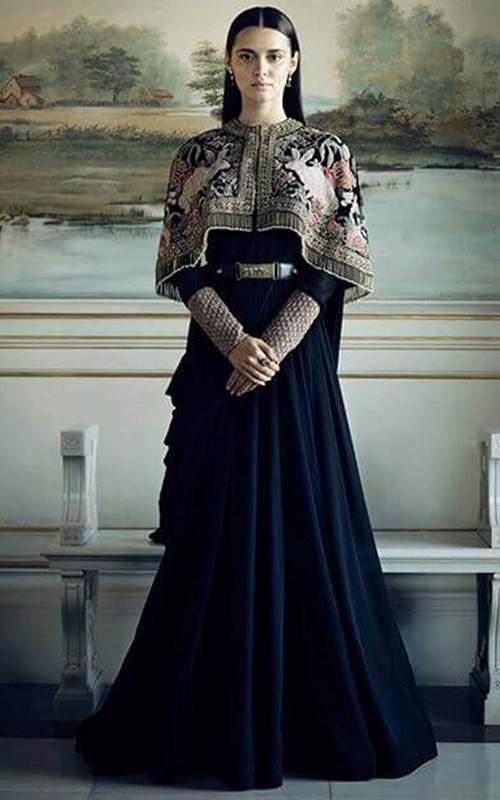 Black Georgette Column Gown by Sabyasachi