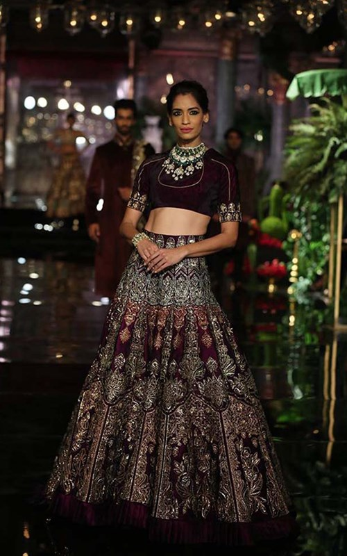 Black And Brown Lehnga by Manish Malhotra
