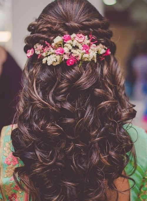 Twisted Curls With Floral Hairpiece