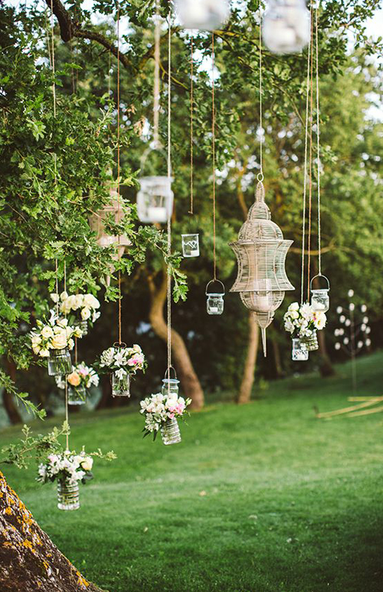 2.Mason Jars for Garden Wedding Decor
