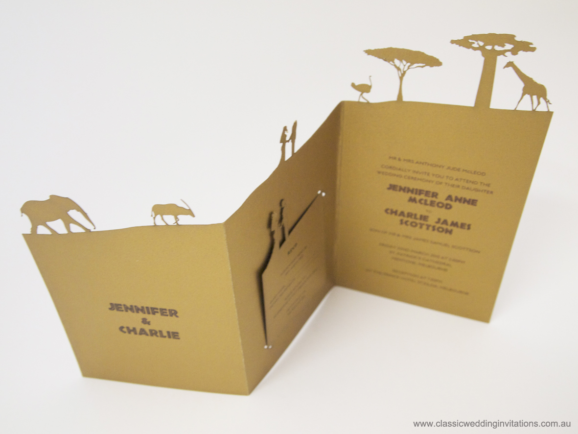 2.	African Themed Cut out Wedding Invitations