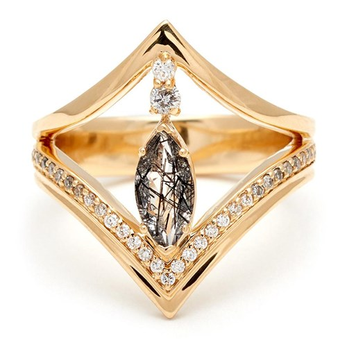Marquise Chrysalis Ring - Yellow Gold & Black Rutilated Quartz, White and Grey Diamonds