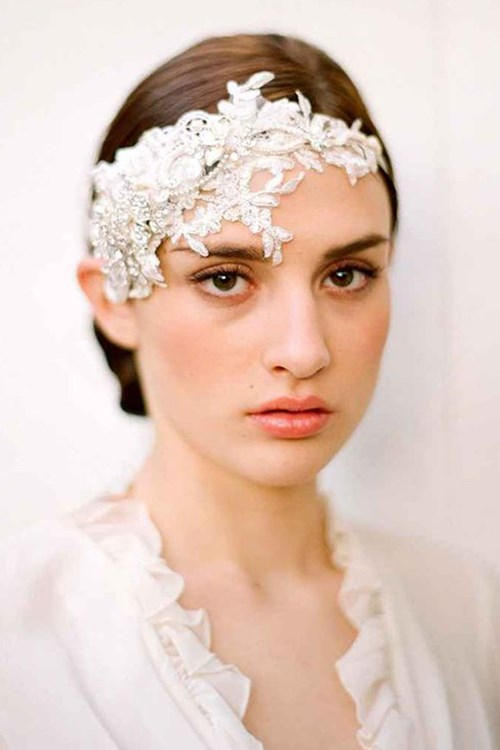 Victorian Inspired Lace And Rhinestone Flower Headpiece