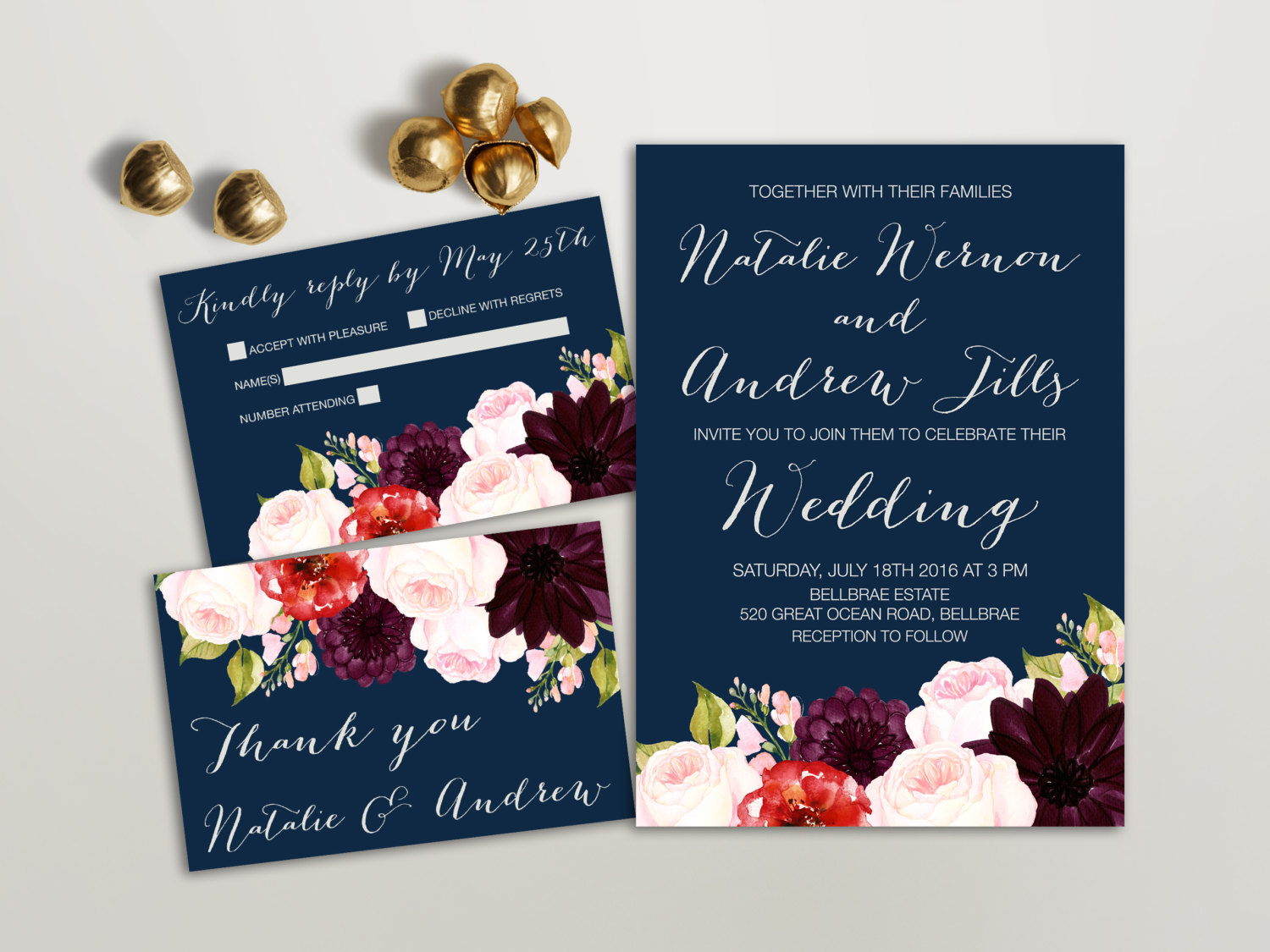 3.	Burgundy and Navy Blue Wedding Invites