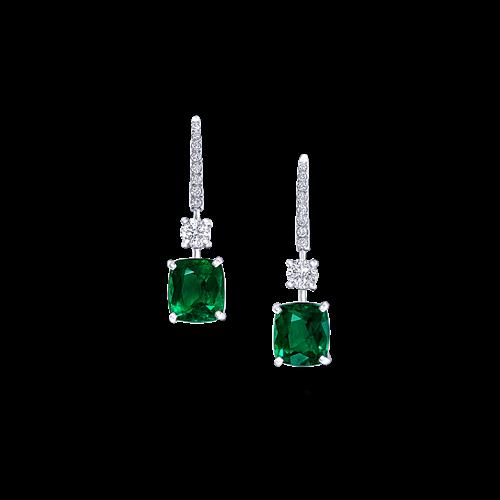 Cushion Cut Emerald and Diamond Earrings