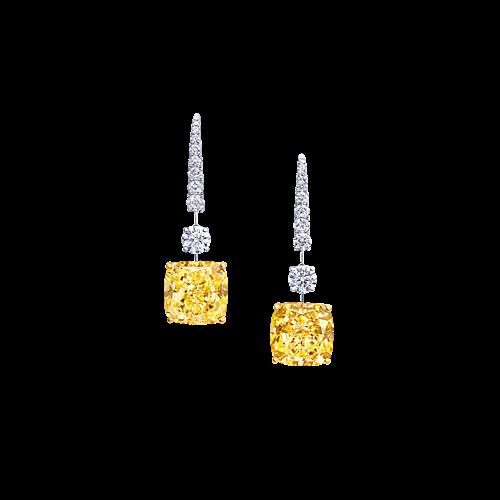 Cushion Cut Yellow and White Diamond Earrings