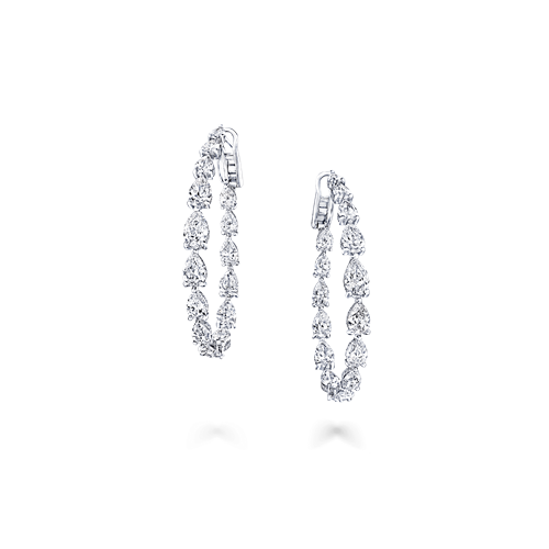 Pear Shape Diamond Hoop Earrings
