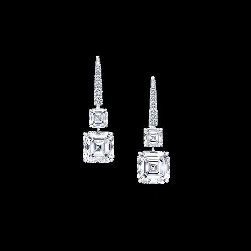 Square Emerald Cut Diamond Earrings