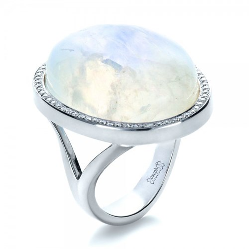 Custom Diamond and Moonstone Ring by Joseph Jewelry