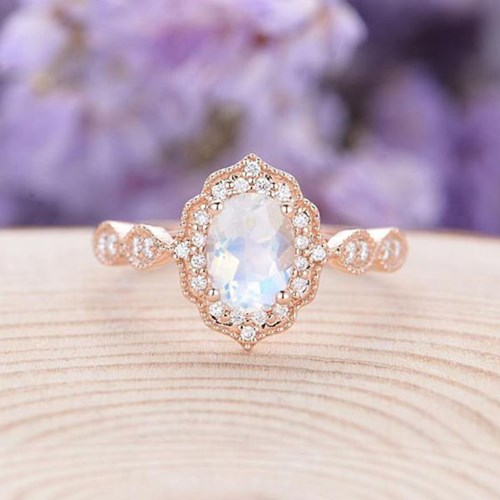 Moissanite Moonstone Engagement Ring