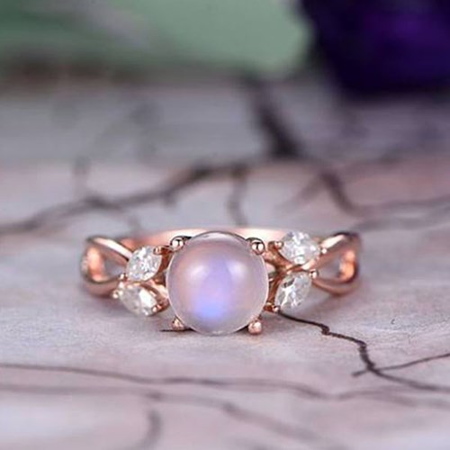 Round Cut Moonstone Engagement Ring