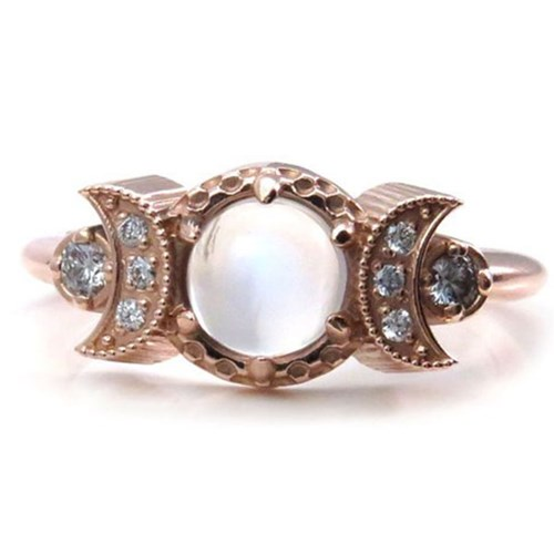 Moonstone Engagement Ring with Diamond Crescent Moons