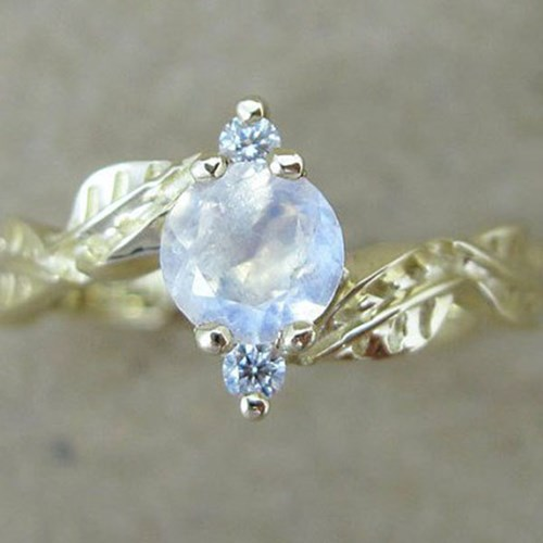 Moonstone Leaves Engagement Ring