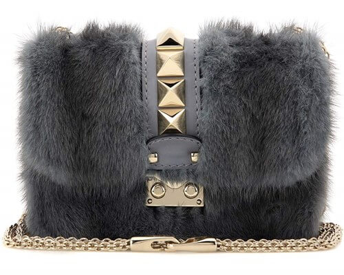 Mink Fur and Leather Bag