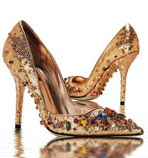Dolce & Gabbana Gold Sequined and Jeweled Pumps