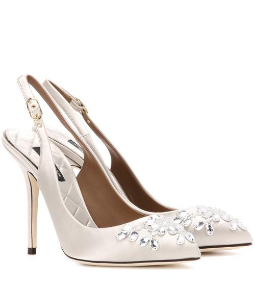 Dolce & Gabbana Bellucci Embellished Satin Slingback Pump
