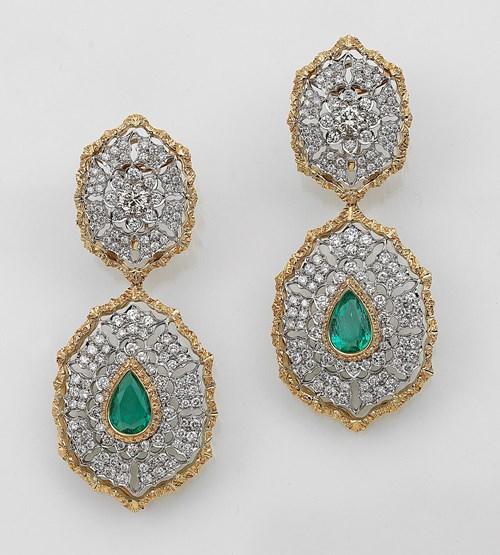Buccellati Brilliant Emerald Ear Pendants