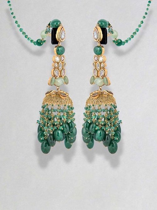 Gold Earrings With Polka Diamonds, Beryls And Emeralds