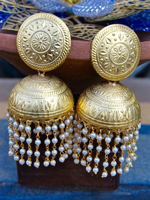 Bold Gold Matte Jhumka Earrings