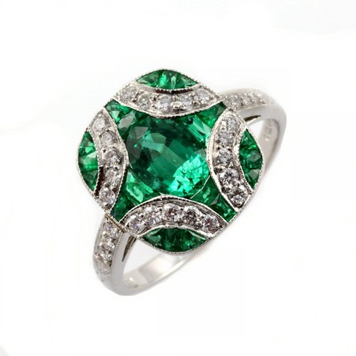 Platinum 1.91ct Emerald And Diamond Cross Design Ring