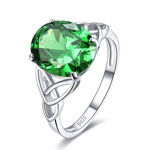 Sterling Silver Rings with Emerald Quartz Solitaire Stone